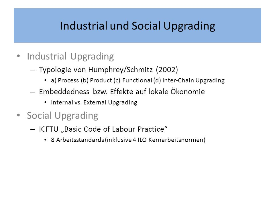 Industrial und Social Upgrading