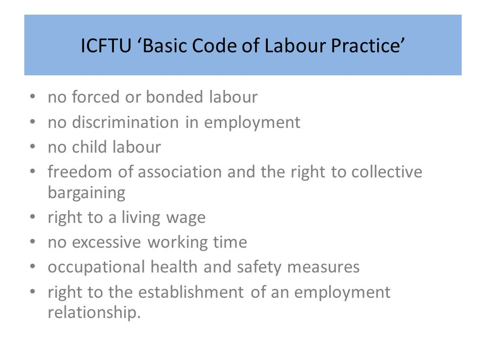 ICFTU 'Basic Code of Labour Practice'