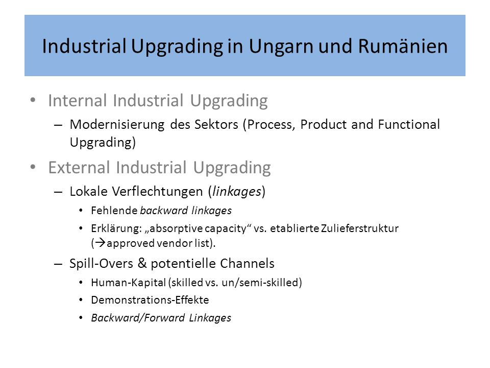 Industrial Upgrading in Ungarn und Rumänien