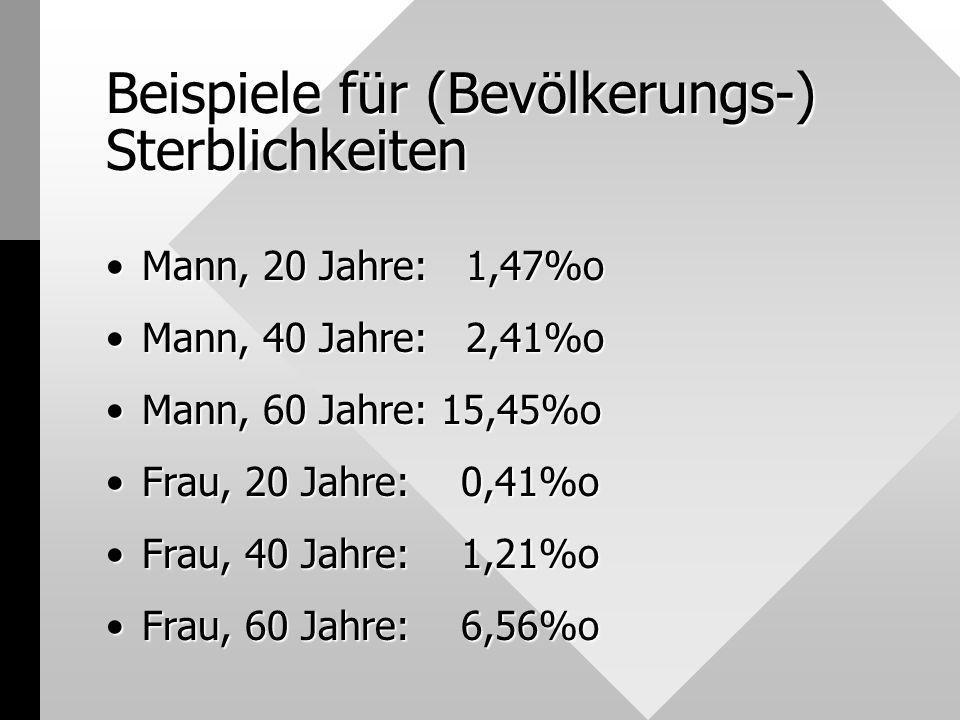 Beispiele für (Bevölkerungs-) Sterblichkeiten