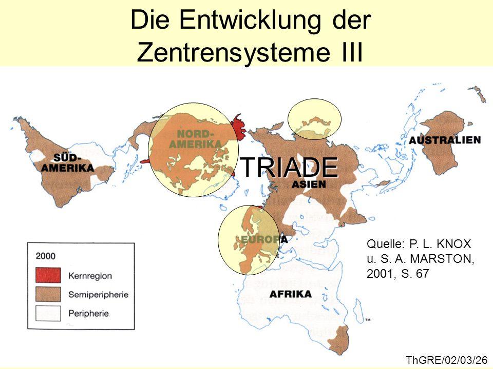 Die Entwicklung der Zentrensysteme III