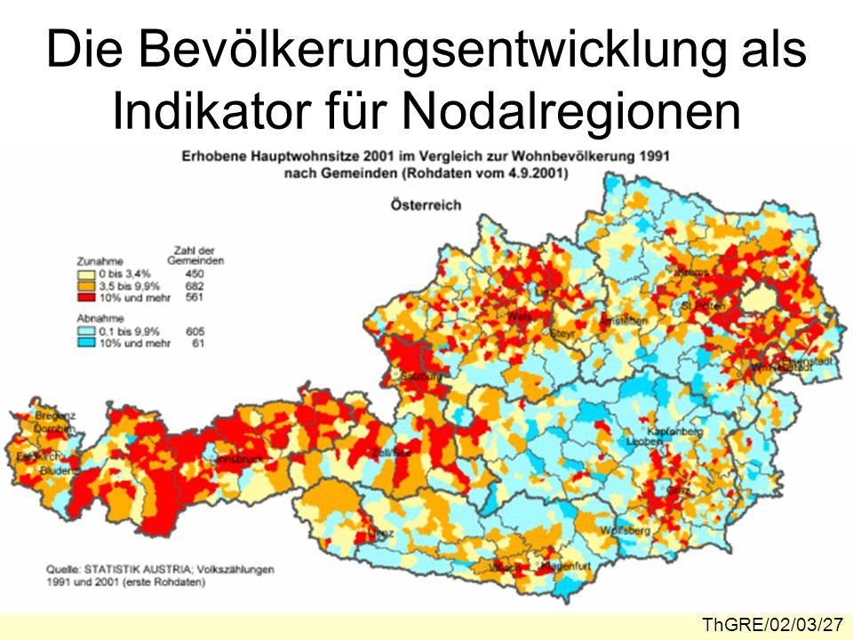 Die Bevölkerungsentwicklung als Indikator für Nodalregionen
