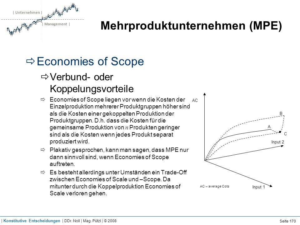 Economies of Scope Formale Definition von Economies of Scope: