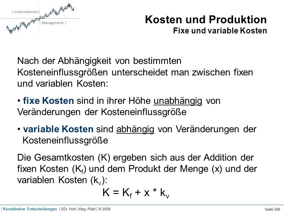 Kosten und Produktion Durchschnittskosten