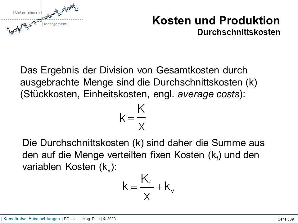 Kosten und Produktion Grenzkosten