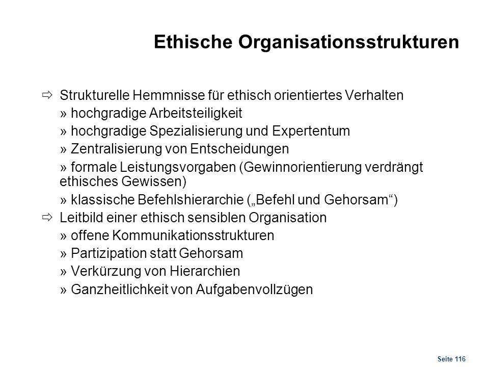 Stufen der ethischen Entwicklung der Organisation
