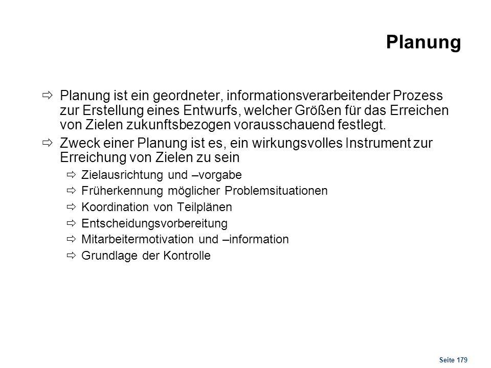 Planung Arten von Plänen