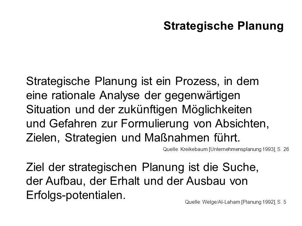 Strategische Planung Aufgabe der strategischen Planung ist es, die langfristige und grundlegende Ausrichtung des Unternehmens festzulegen.