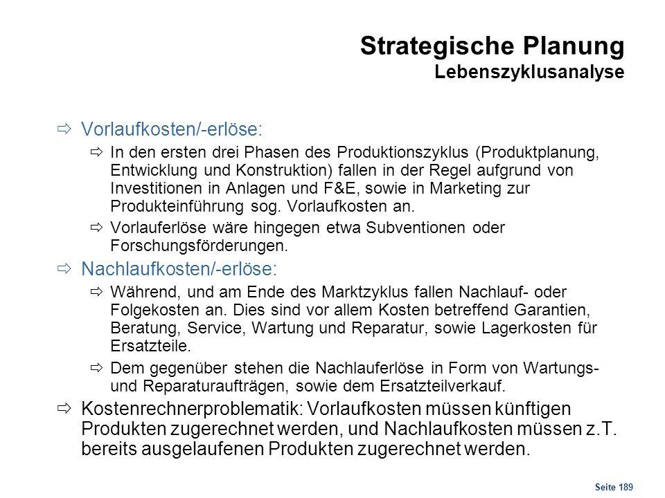 Strategische Planung Lebenszyklusanalyse