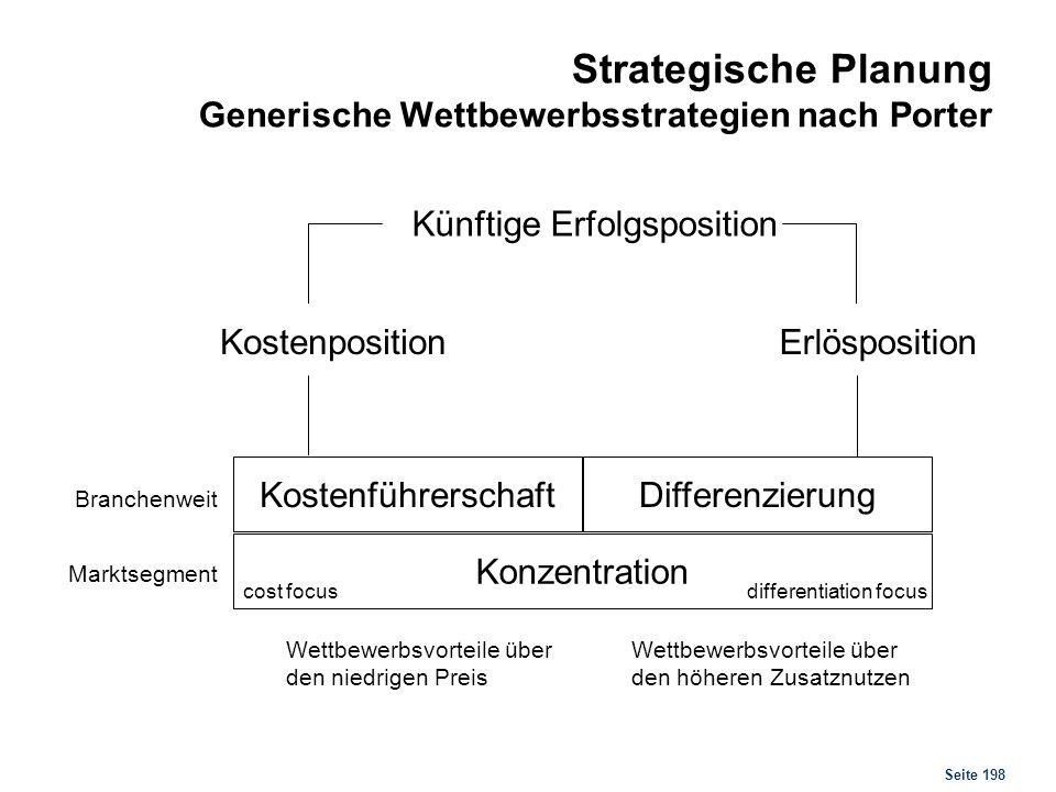 Strategische Planung Generische Wettbewerbsstrategien nach Porter