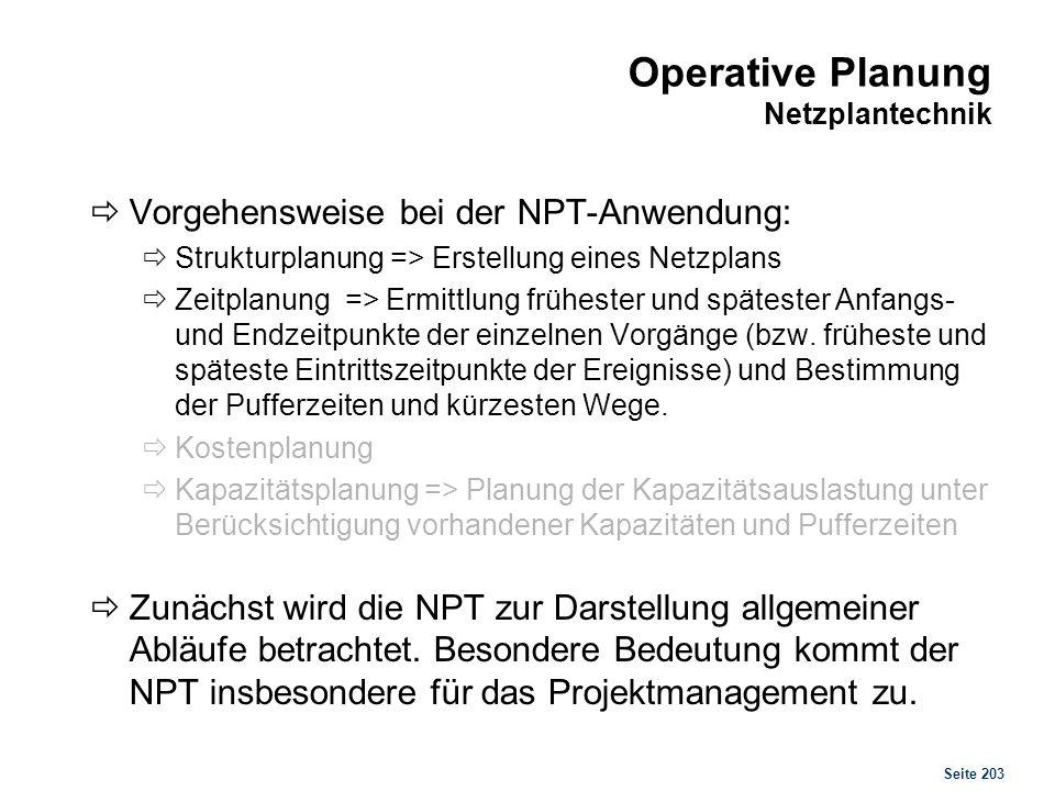 Operative Planung Netzplantechnik
