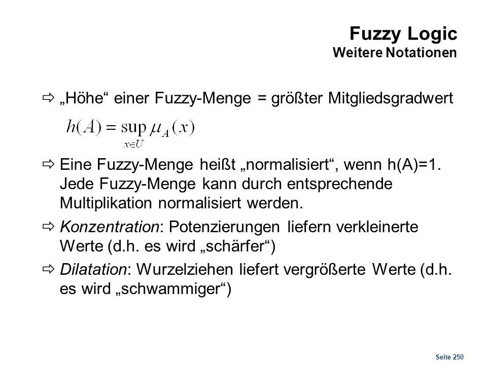 Fuzzy Logic Einige Begriffe im Beispiel