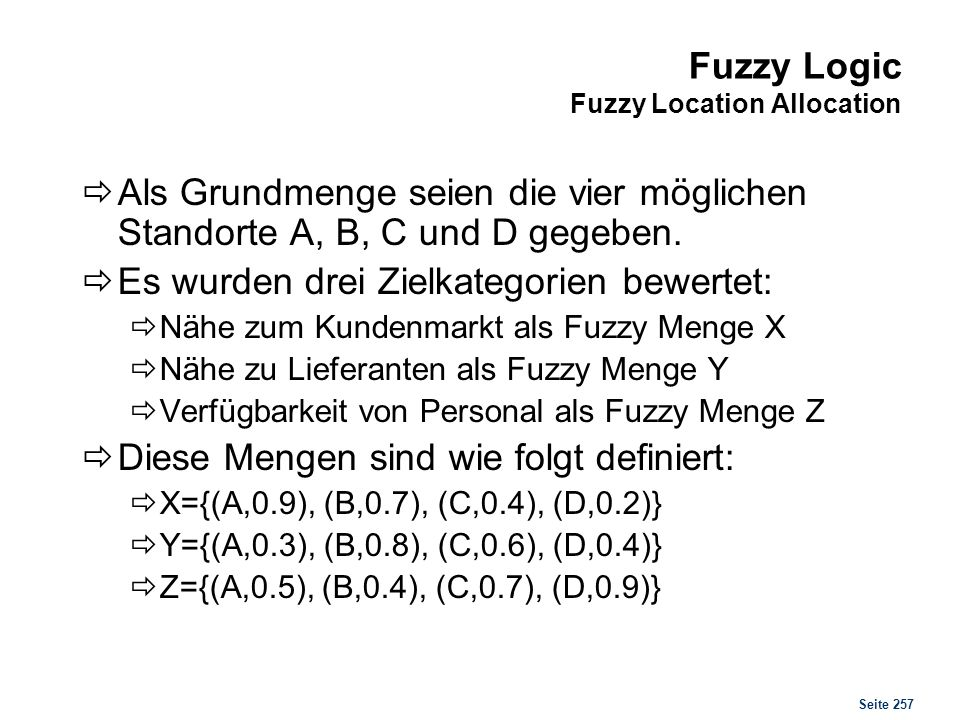 Fuzzy Logic Fuzzy Location Allocation