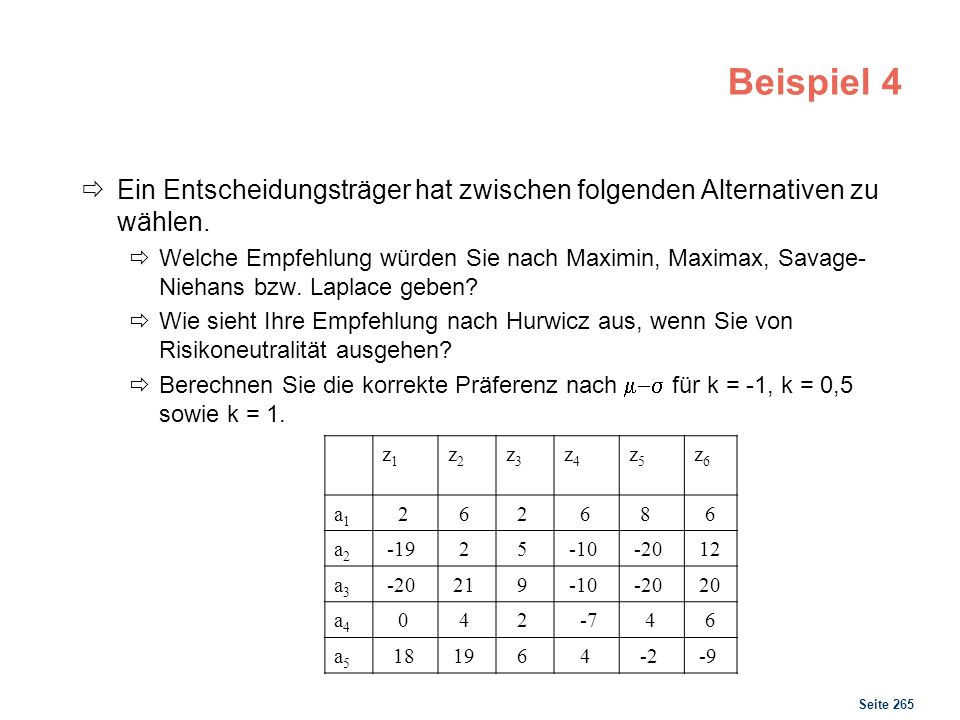 Lösung 4 Maximin Maximax Laplace Hurwicz 2 8 5 -20 12 -5 -4 21 0,5 -7