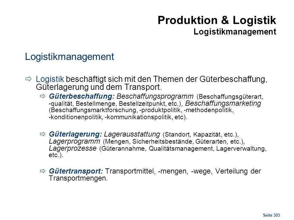 Produktion & Logistik Logistikmanagement