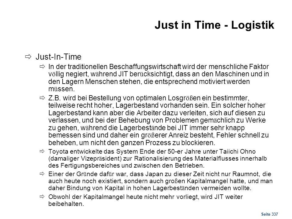 Just in Time - Logistik Voraussetzungen und Grenzen: