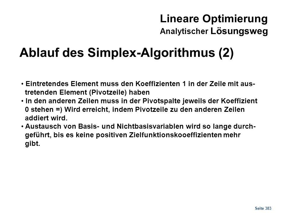 Lineare Optimierung Analytischer Lösungsweg