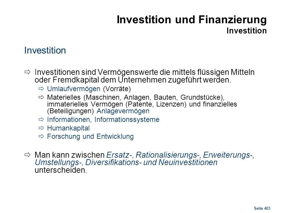 Investition und Finanzierung Investitionsprozess