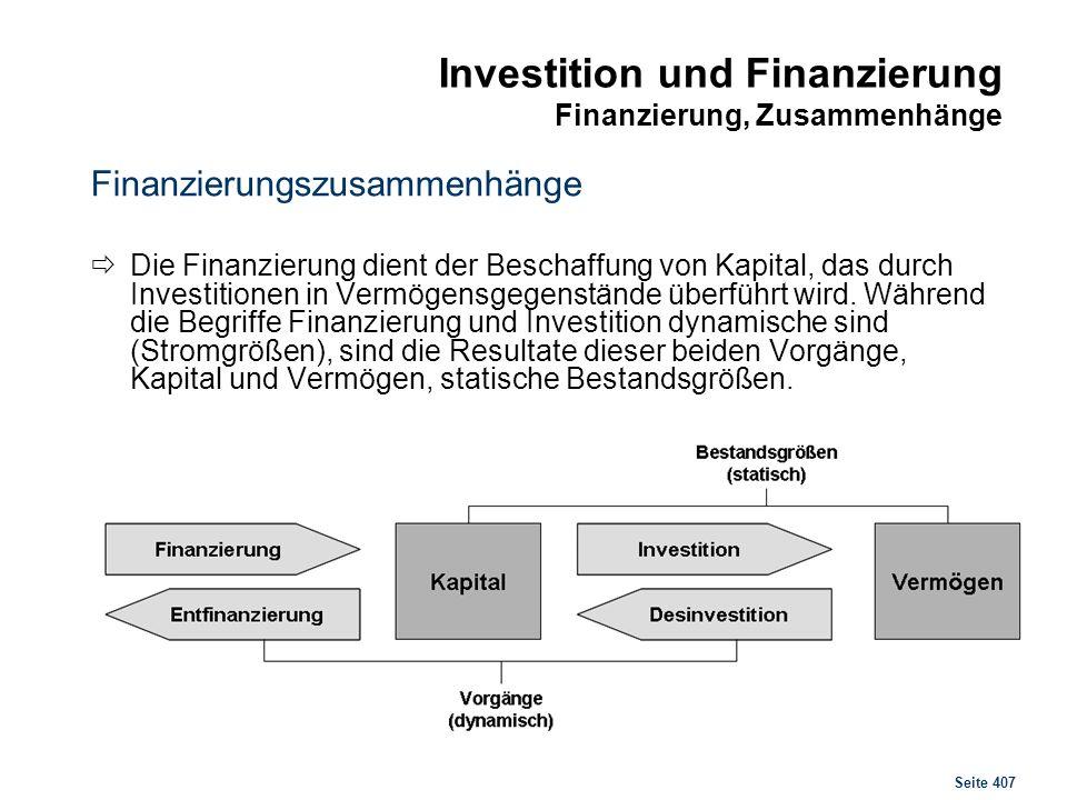 Investition und Finanzierung Finanzierungsformen