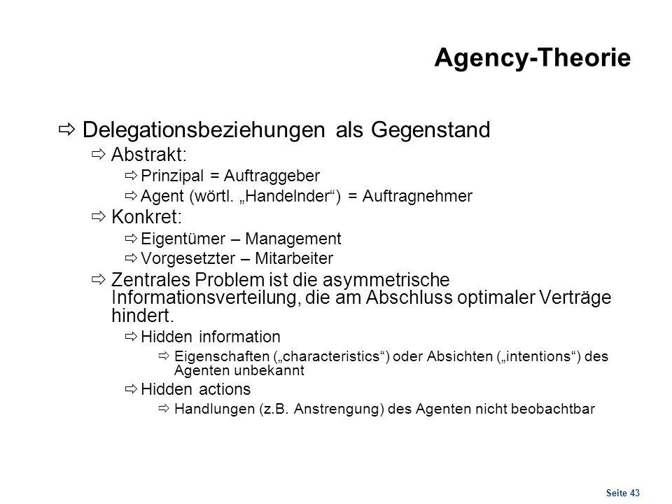 Agency-Theorie Folgen asymmetrischer Informationsverteilung
