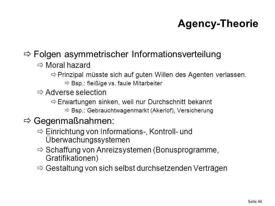 Agency-Theorie Vorgeschlagene Gegenmaßnahmen bei Informationsungleichgewichten.