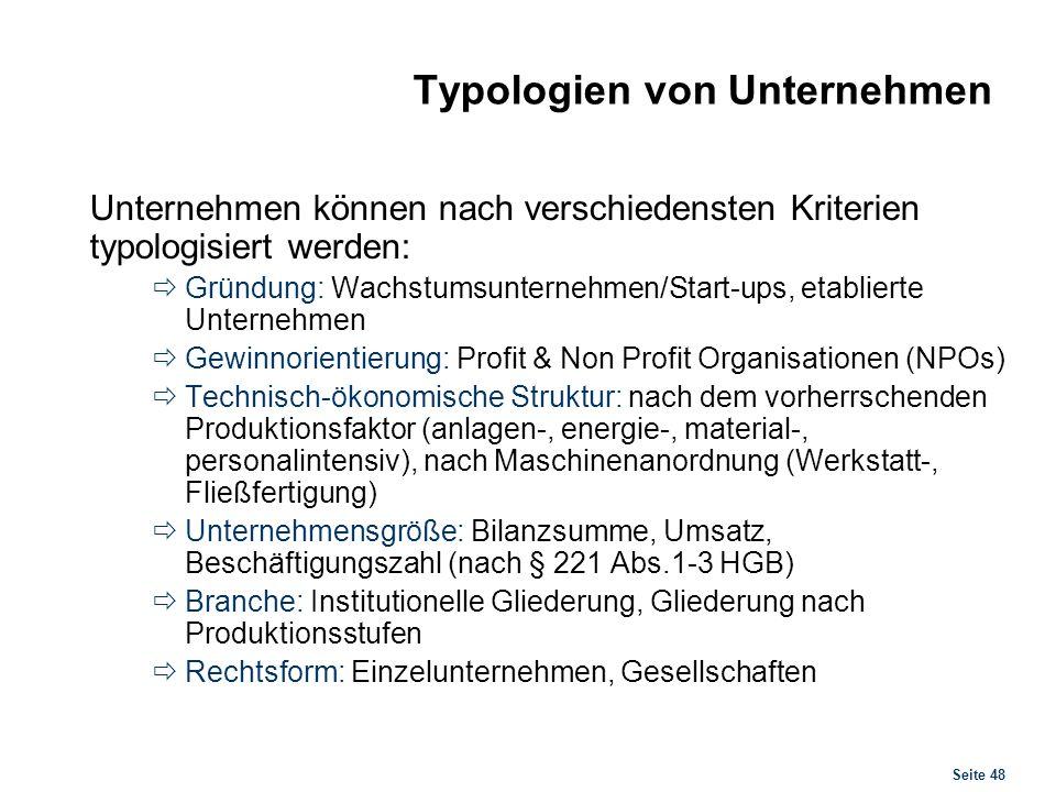 Typologien von Unternehmen Größenklassen nach HGB (UGB)