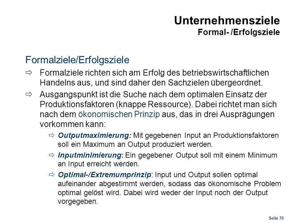 Unternehmensziele Formal- /Erfolgsziele