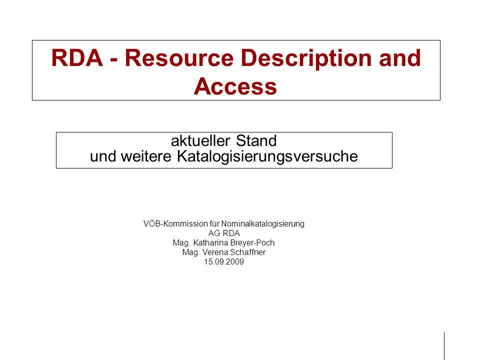 Gliederung RDA – Zeitplan allgemein RDA deutsch RDA: Struktur im Überblick Beispiele