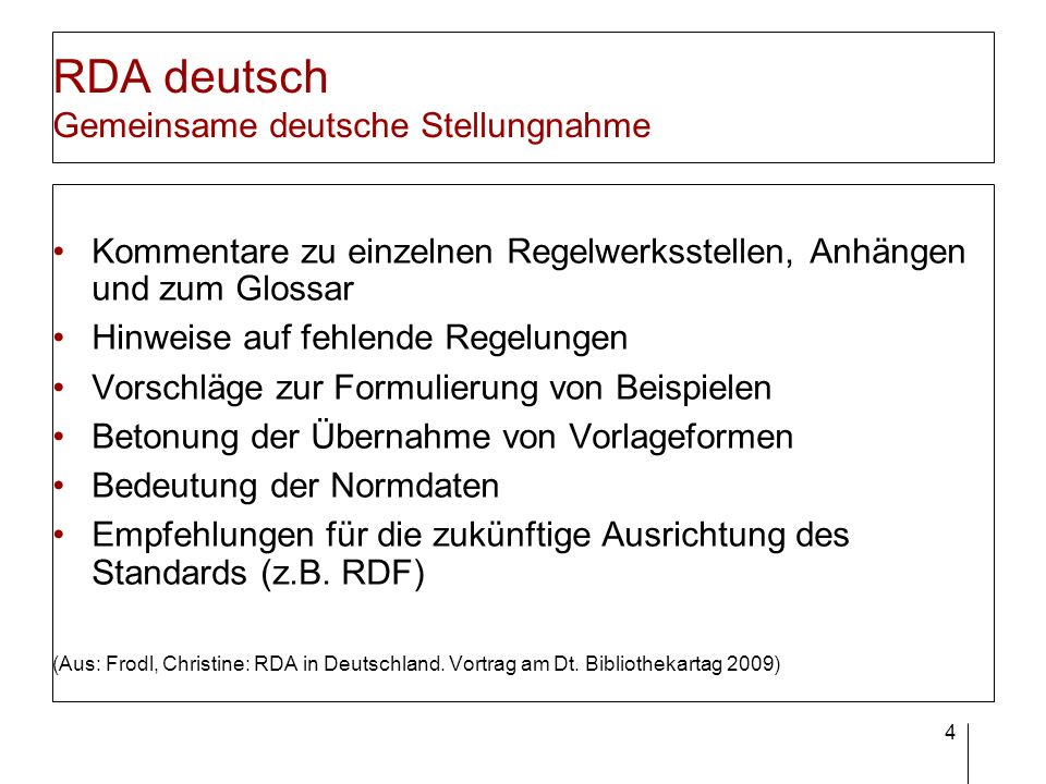 RDA deutsch Zeitplan Veröffentlichung der RDA-Erstausgabe