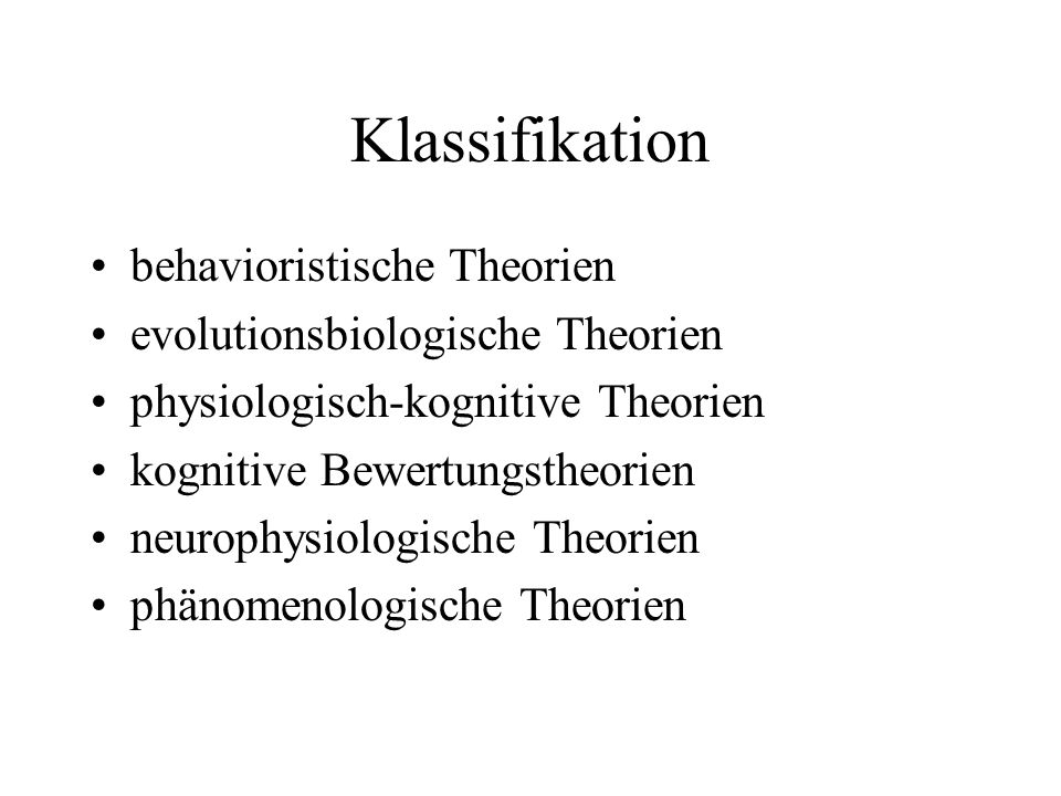 Klassifikation behavioristische Theorien