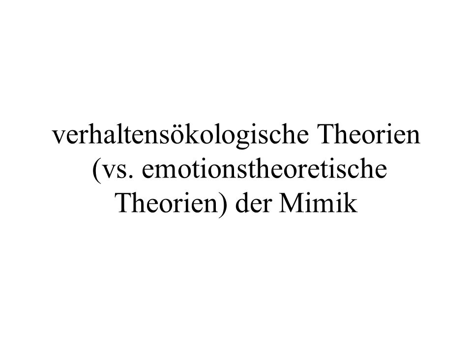 verhaltensökologische Theorien (vs