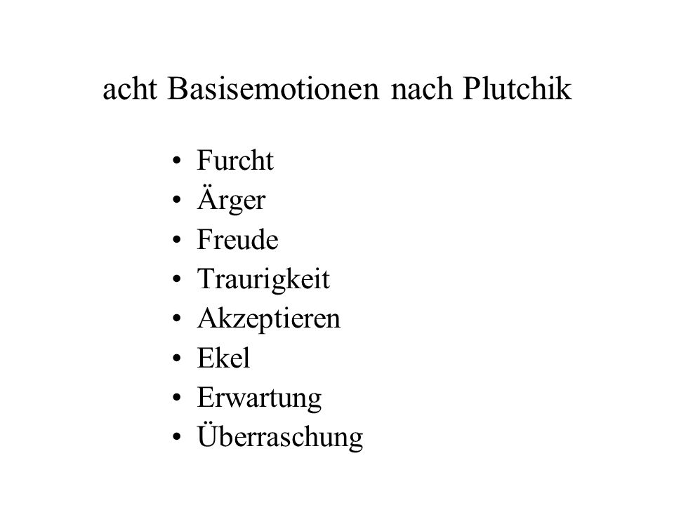 acht Basisemotionen nach Plutchik