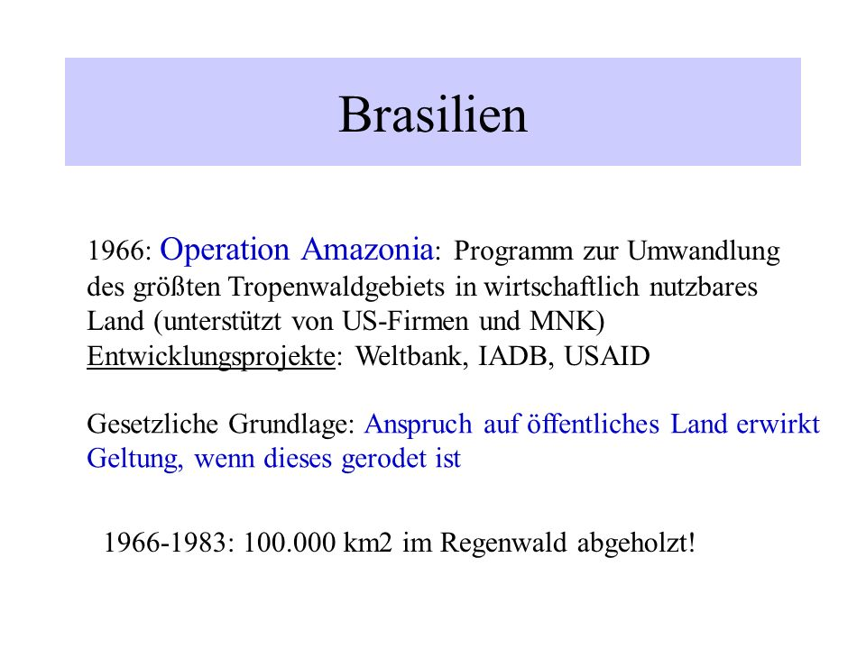 Brasilien 1966: Operation Amazonia: Programm zur Umwandlung