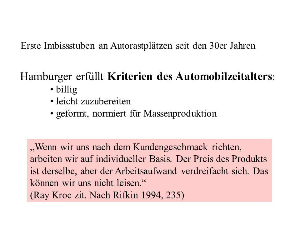 Hamburger erfüllt Kriterien des Automobilzeitalters: