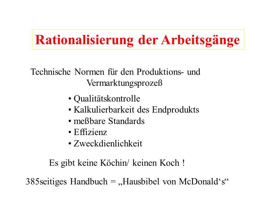 Rationalisierung der Arbeitsgänge