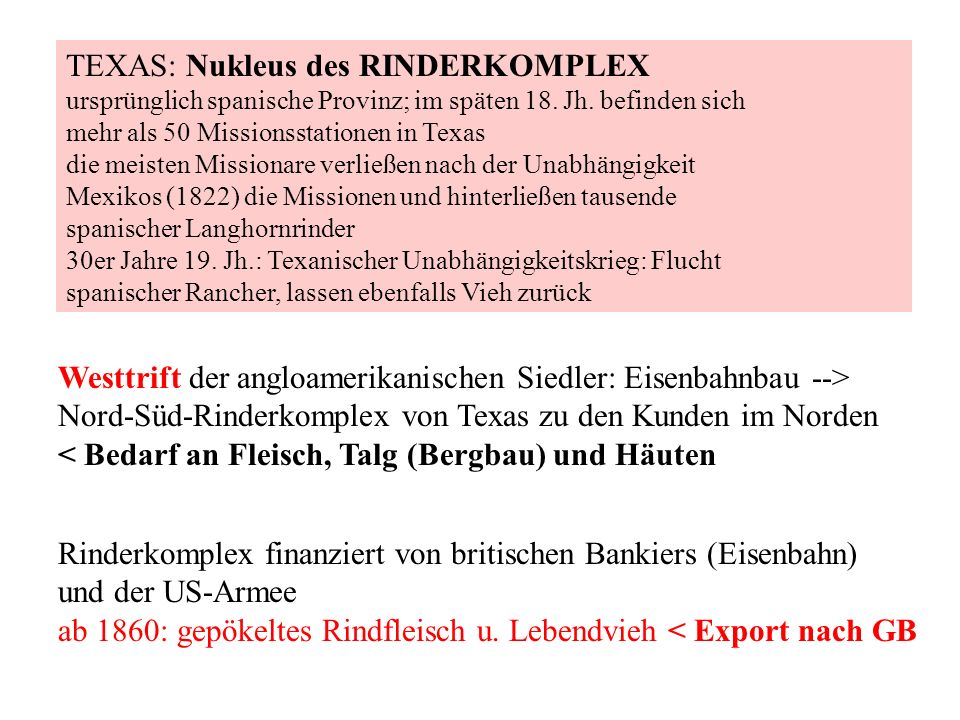 TEXAS: Nukleus des RINDERKOMPLEX