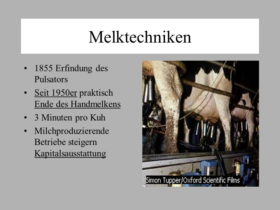 Melktechniken 1855 Erfindung des Pulsators