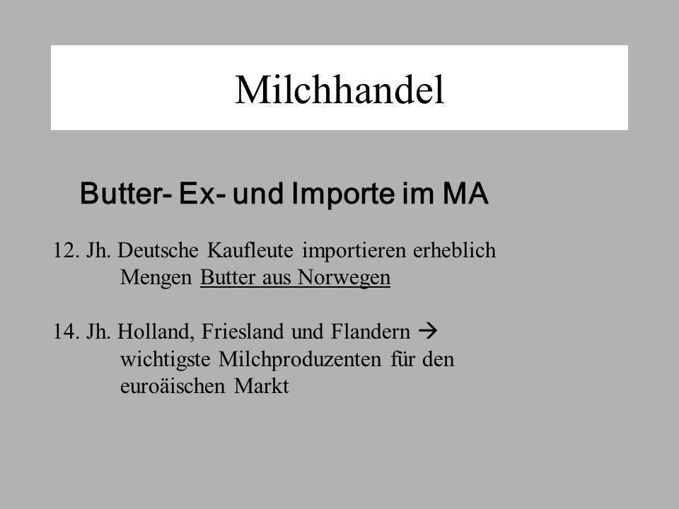 Milchhandel Butter- Ex- und Importe im MA