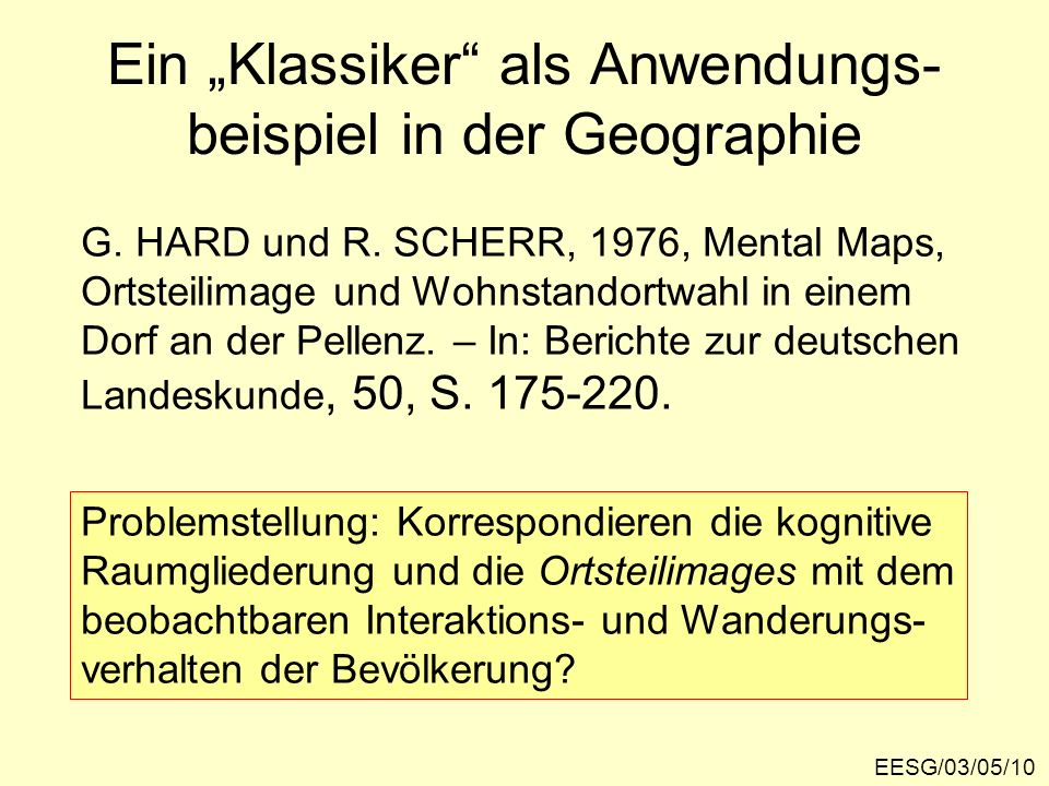 """Ein """"Klassiker als Anwendungs-beispiel in der Geographie"""