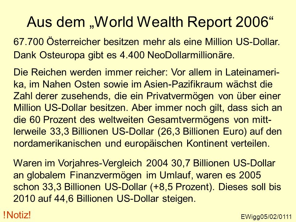 "Aus dem ""World Wealth Report 2006"