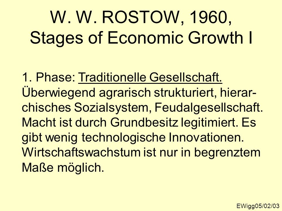 W. W. ROSTOW, 1960, Stages of Economic Growth I