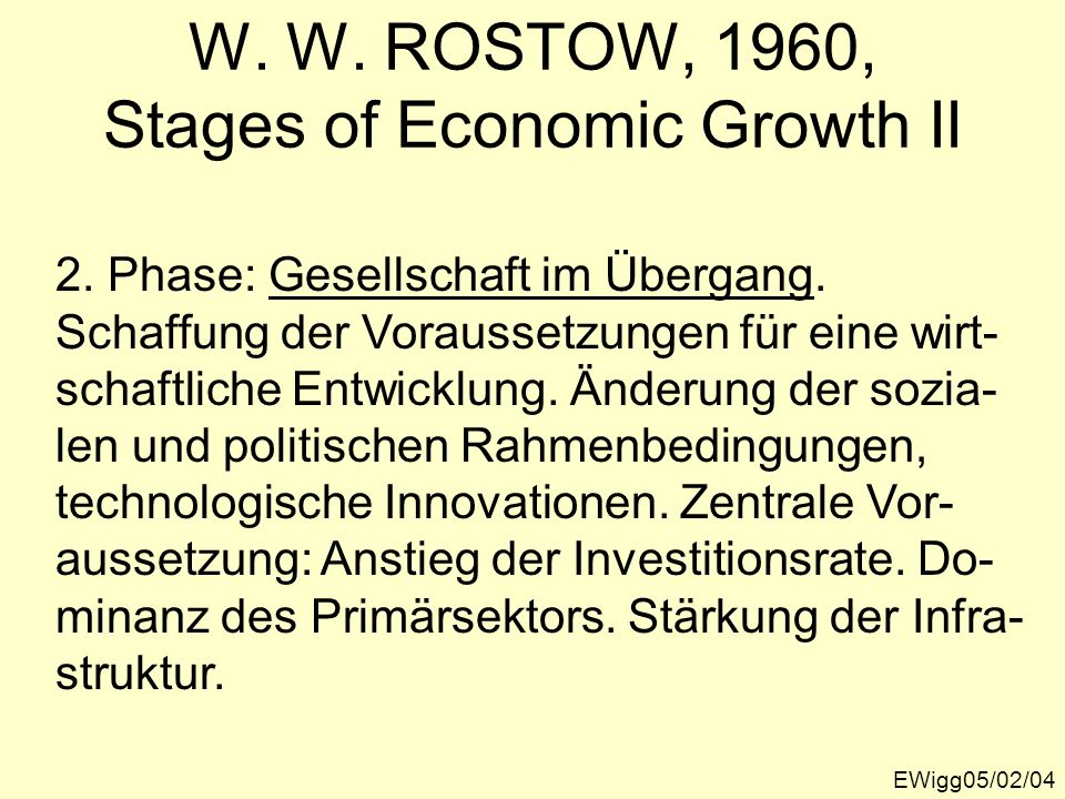 W. W. ROSTOW, 1960, Stages of Economic Growth II