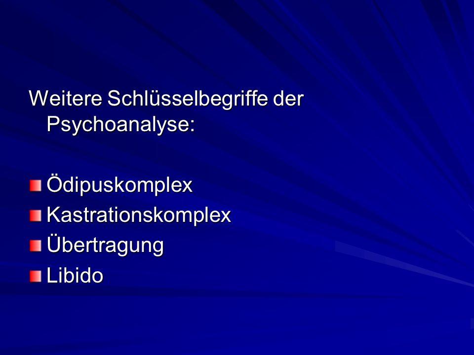 Weitere Schlüsselbegriffe der Psychoanalyse: