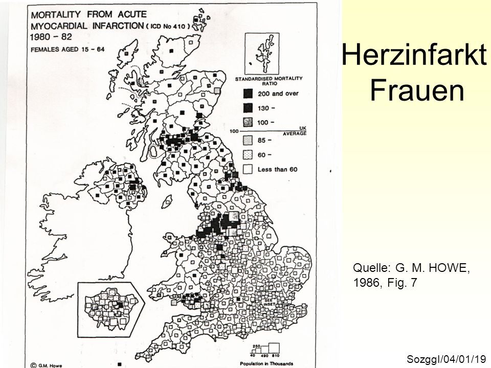 Herzinfarkt Frauen Quelle: G. M. HOWE, 1986, Fig. 7 SozggI/04/01/19