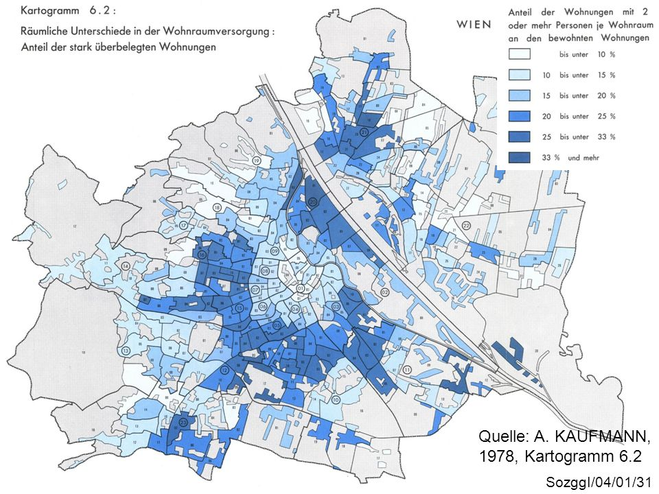 Überbelegung Quelle: A. KAUFMANN, 1978, Kartogramm 6.2 SozggI/04/01/31
