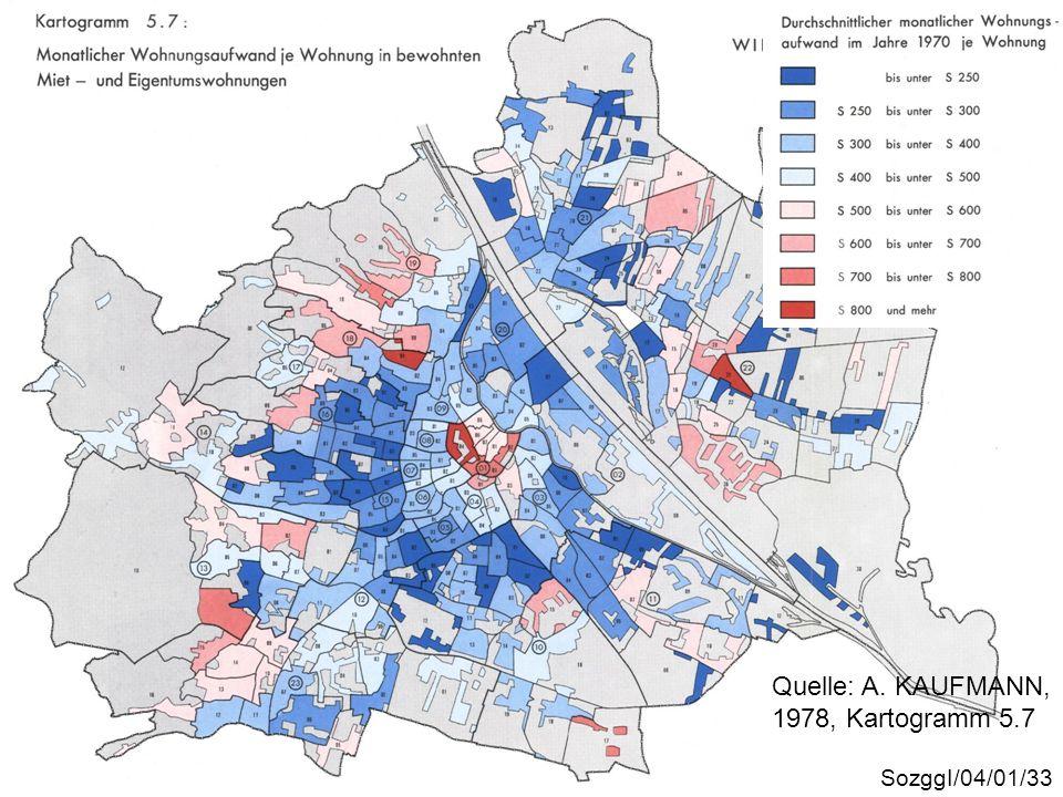 Wohnungsaufwand 1970 Quelle: A. KAUFMANN, 1978, Kartogramm 5.7