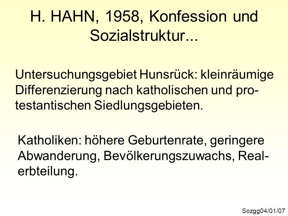H. HAHN, 1958, Konfession und Sozialstruktur...