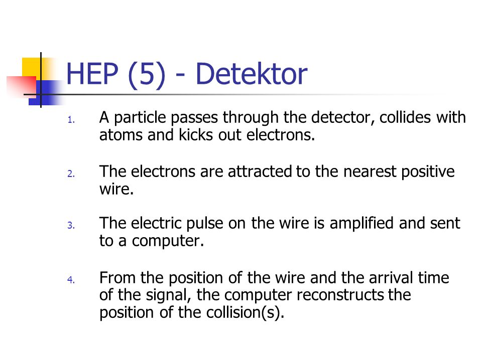 HEP (5) - DetektorA particle passes through the detector, collides with atoms and kicks out electrons.