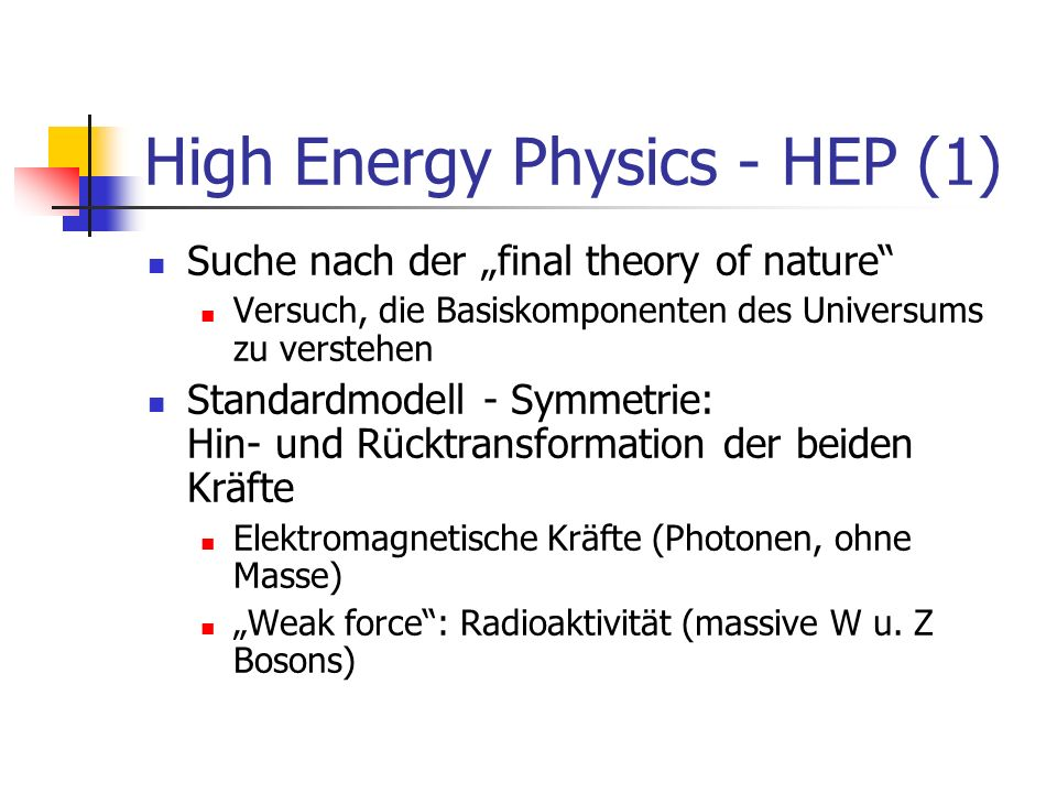 High Energy Physics - HEP (1)