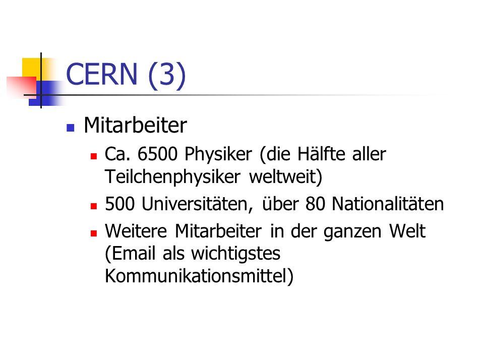 CERN (3) Mitarbeiter. Ca. 6500 Physiker (die Hälfte aller Teilchenphysiker weltweit) 500 Universitäten, über 80 Nationalitäten.